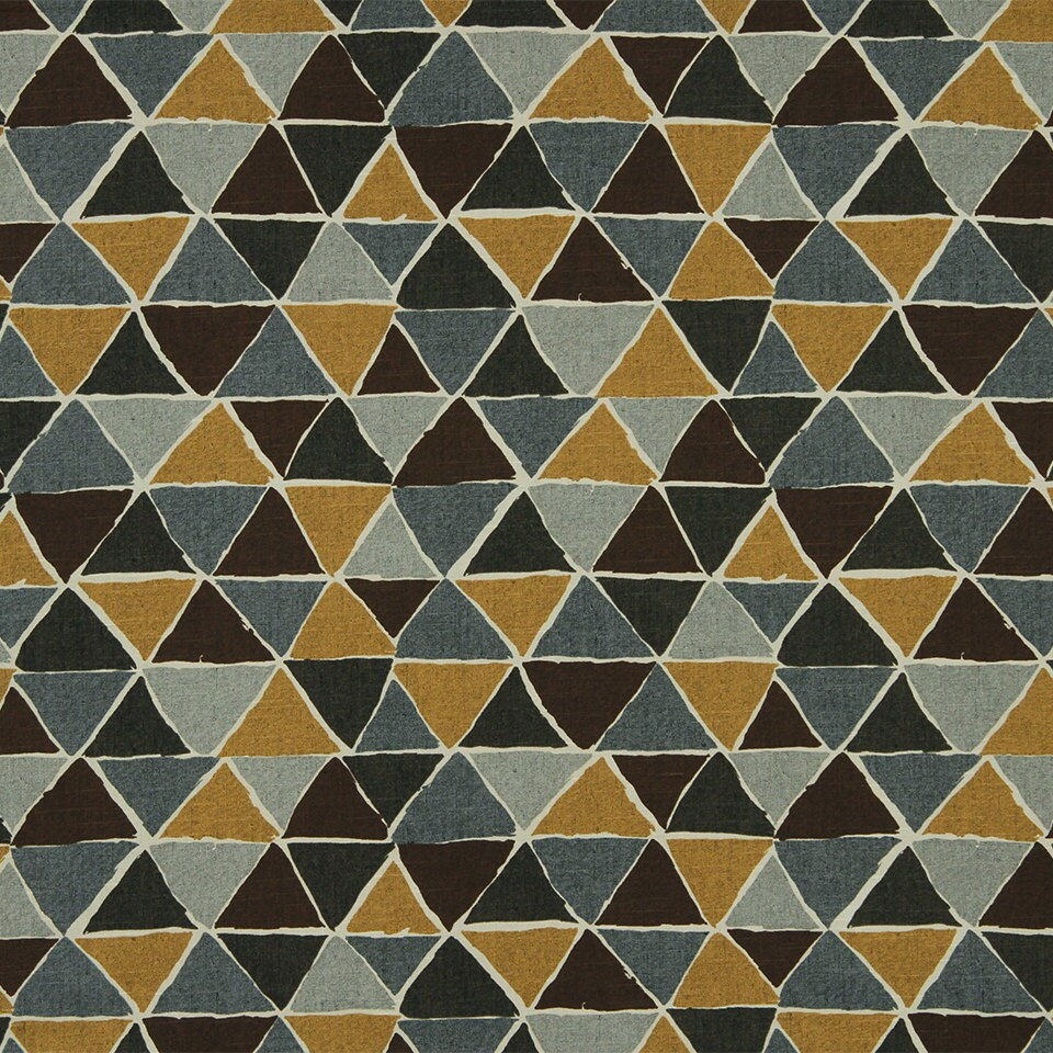 Mustard Yellow Grey Geometric Cotton Upholstery Fabric For