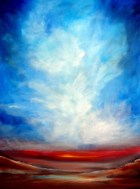 "For the World is Hollow and I Have Touched the Sky Large Abstract Desert Skyscape 30"" x 40"" x 7/8"" Oil on canvas"