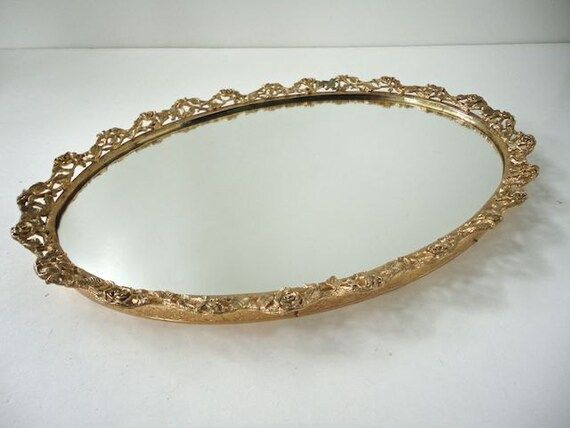 Gold Metal Vanity Tray Mirror Rose Leaf By HistoricalVintage