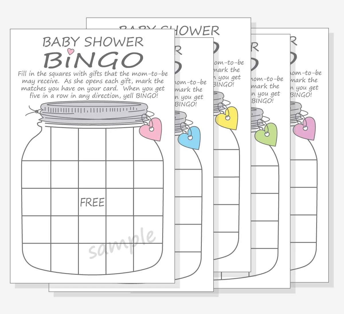 Baby Shower Bingo Printable Game Cards Mason Jar Pink Blue