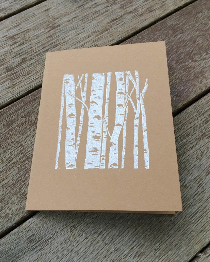 Items Similar To Linocut Card Block Print Card Birch