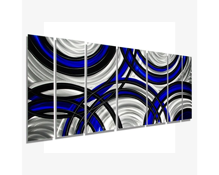Blue Black & Silver Abstract Metal Art Modern Metal Wall