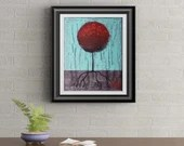 Red Lollipop Tree Signed Art Print of Signature Original By Rafi Perez
