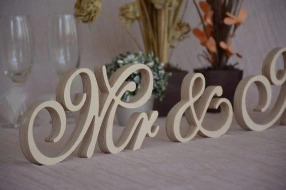 Script Wooden Letters Mr &Mrs Set Wedding Table Decor. Mr