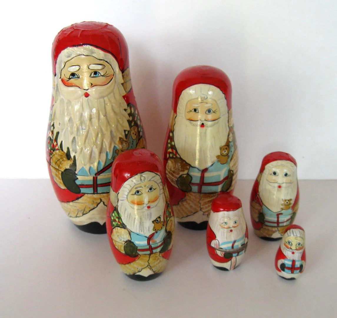 Vintage Set Of Large Santa Nesting Dolls 6 Wood Santas Toys