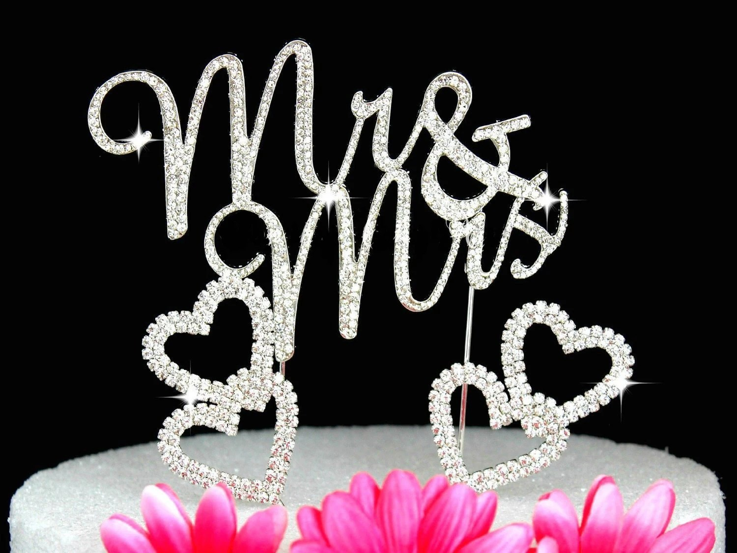 Mr & Mrs Large Silver Diamante Bling Cake Toppers And 2 Hearts