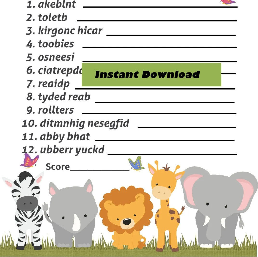 Baby Word Scramble Jungle Safari Animal Game Safari Animal