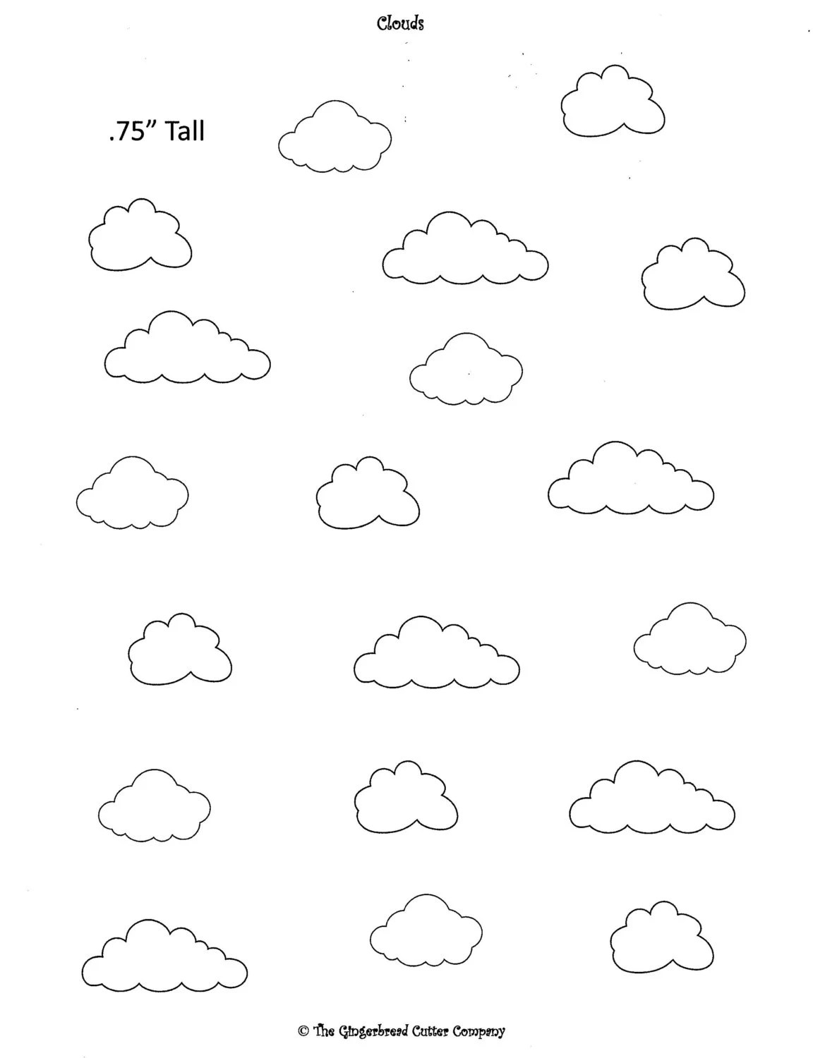 Cloud Royal Icing Transfer Template From Transfertemplates