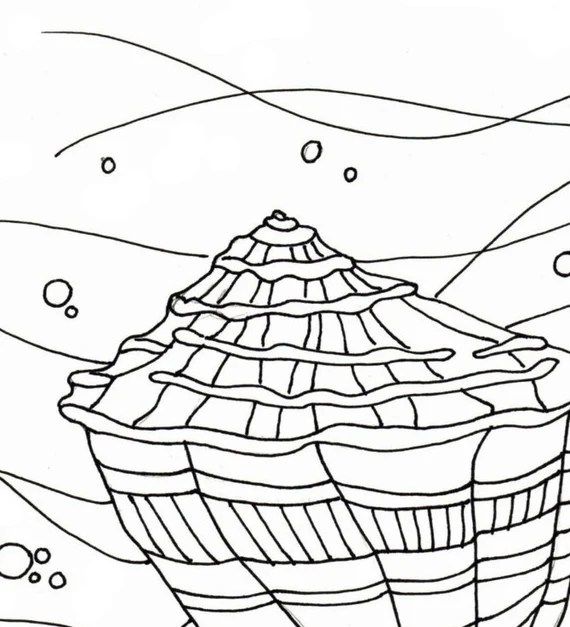 sea shell coloring page embroidery pattern seashell art