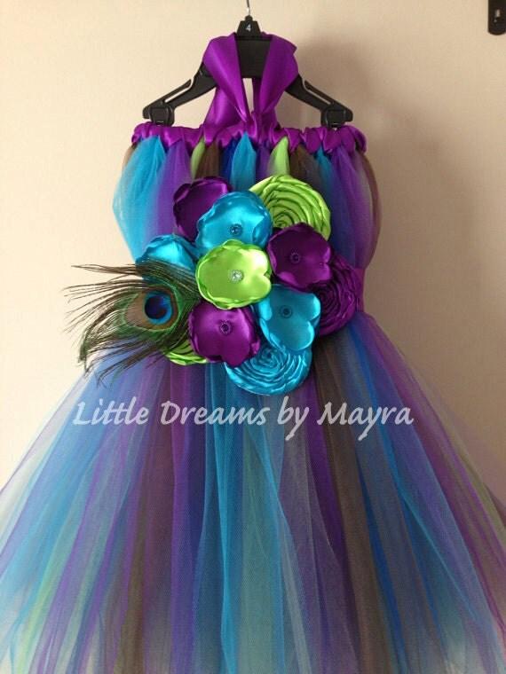 Peacock Tutu Dress And Matching Hair Piece Flower Girl Size