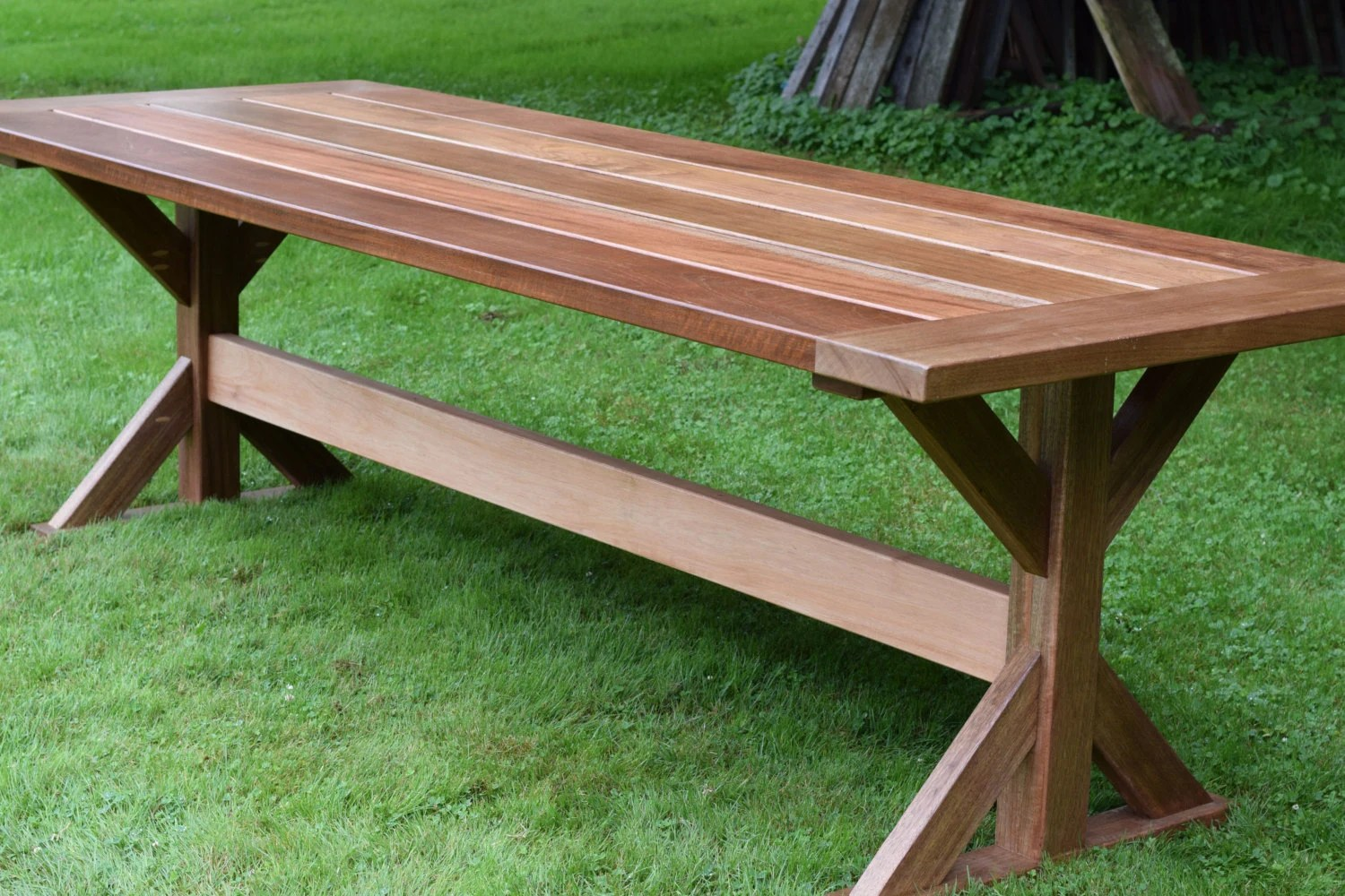 The Lucy Mahogany Outdoor Dining Table Trestle Table