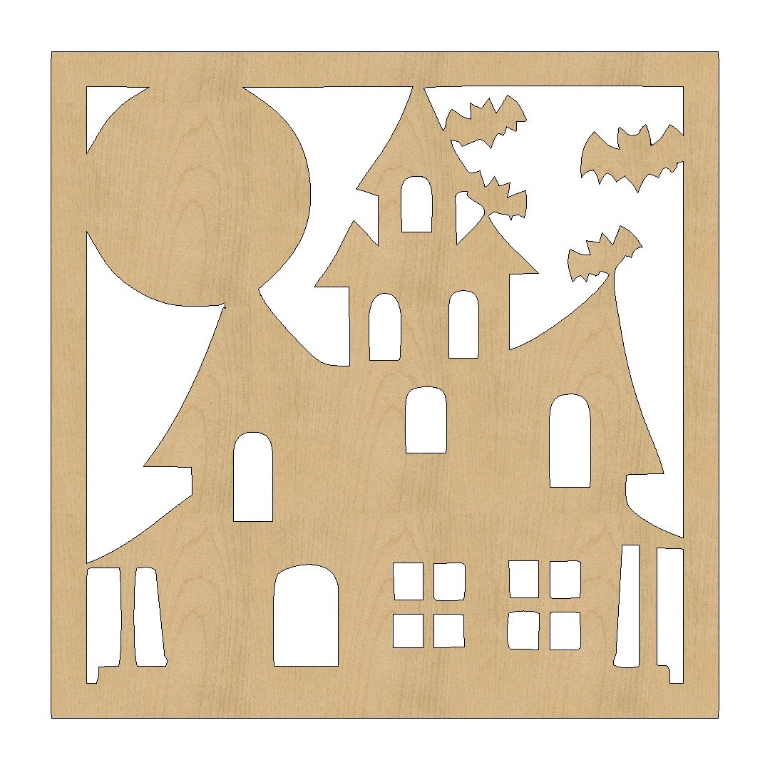 Halloween Haunted House Cutout Shape Laser Cut Unfinished Wood