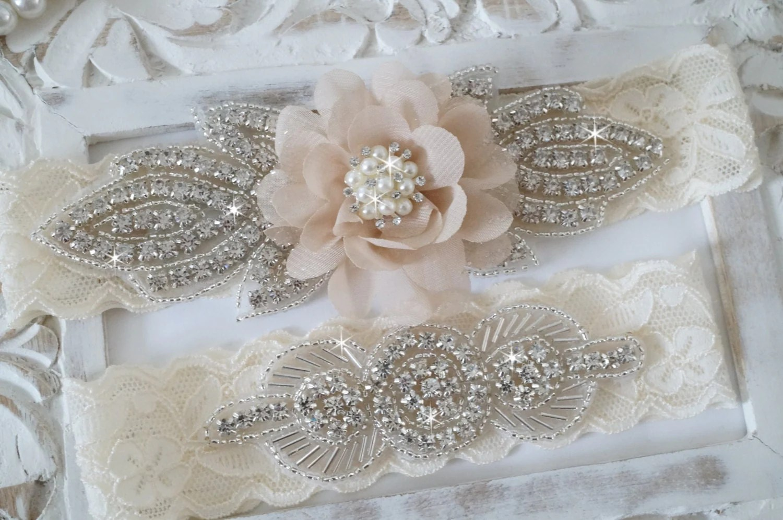 Rustic Garter Set Ivory Wedding Garter Set Lace Bridal