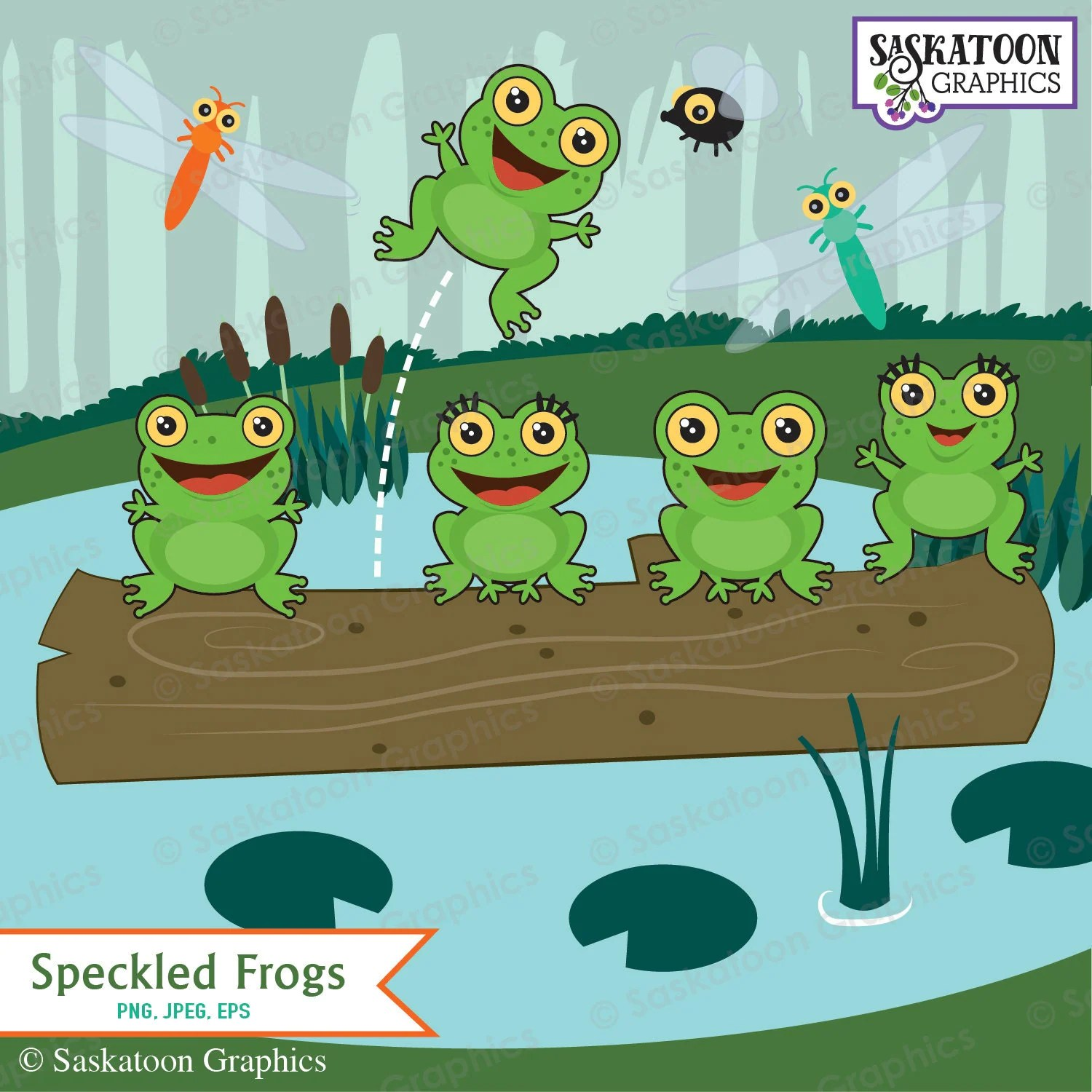 Five Green And Speckled Frogs Clipart Instant Download File