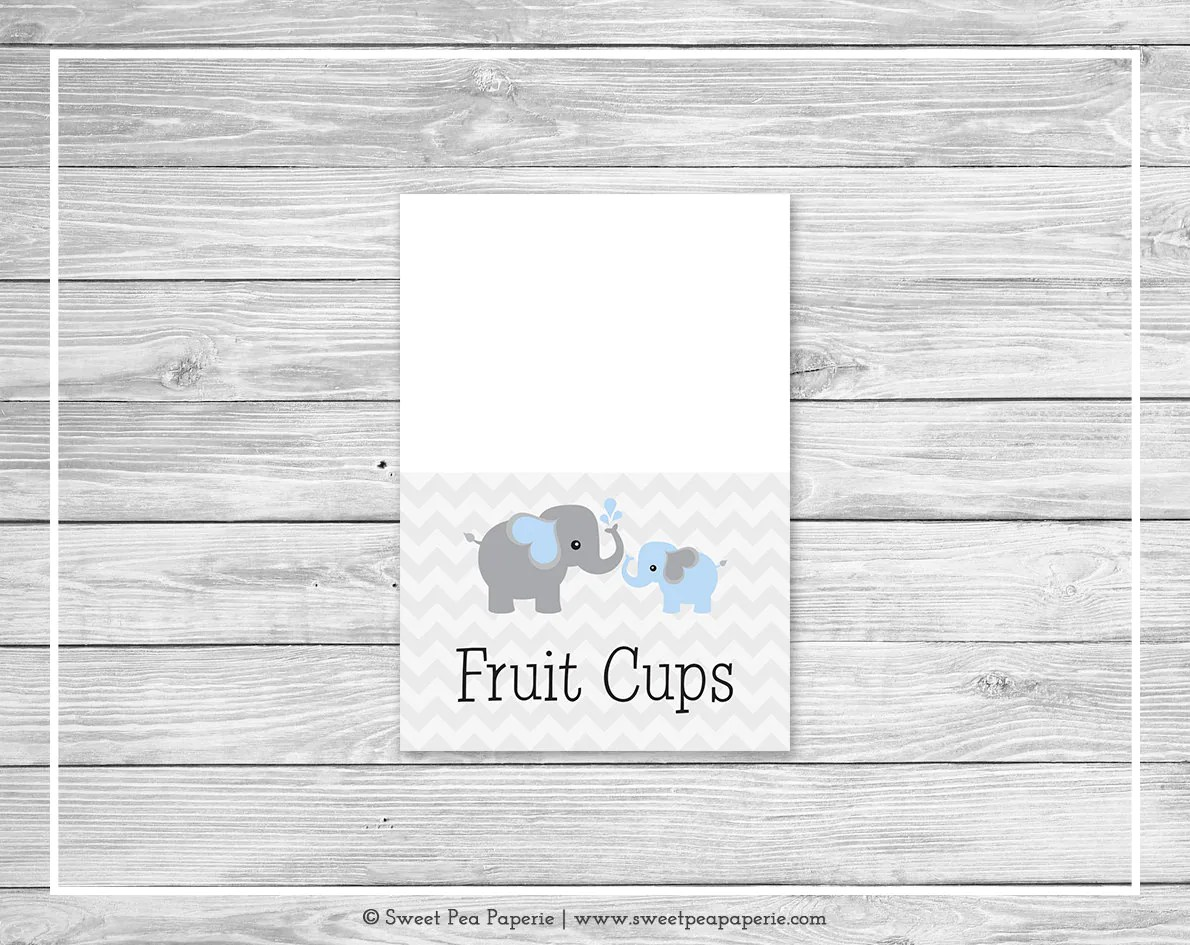 Elephant Baby Shower Buffet Labels Printable Baby Shower