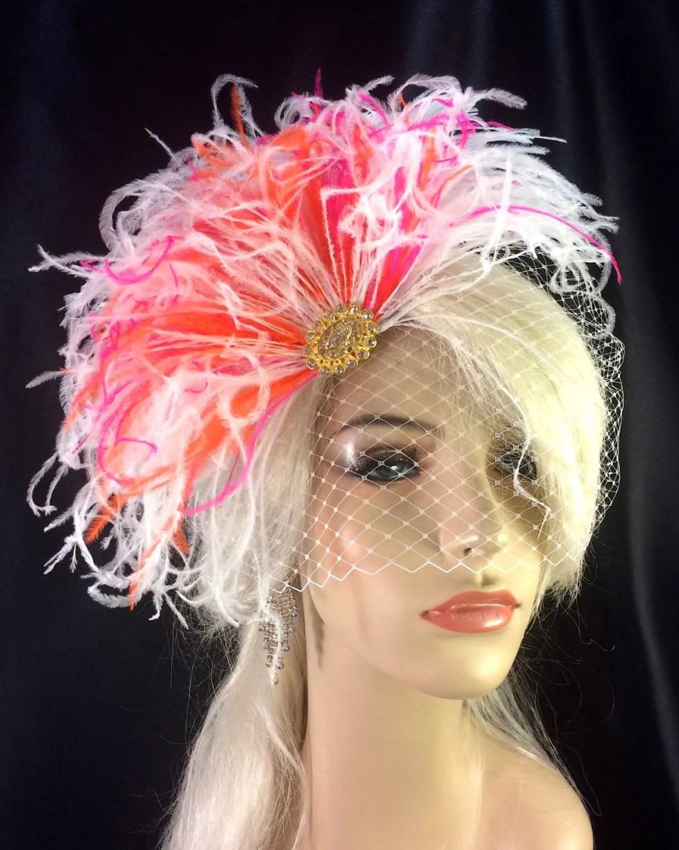 Wedding Hair Accessory, Gold-tone Rhinestone Brooch, White, Orange and Hot-pink Ostrich Feather Fascinator, Bridal Fascinator, Bridal Veil