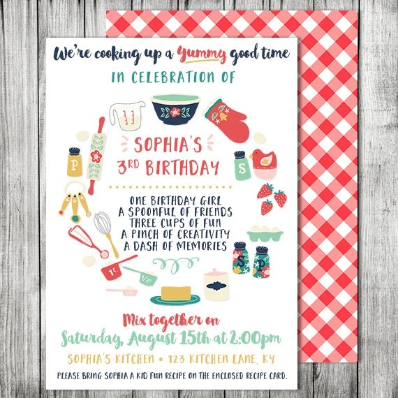 Kids Cooking Birthday Party Invitation Cooking Baking