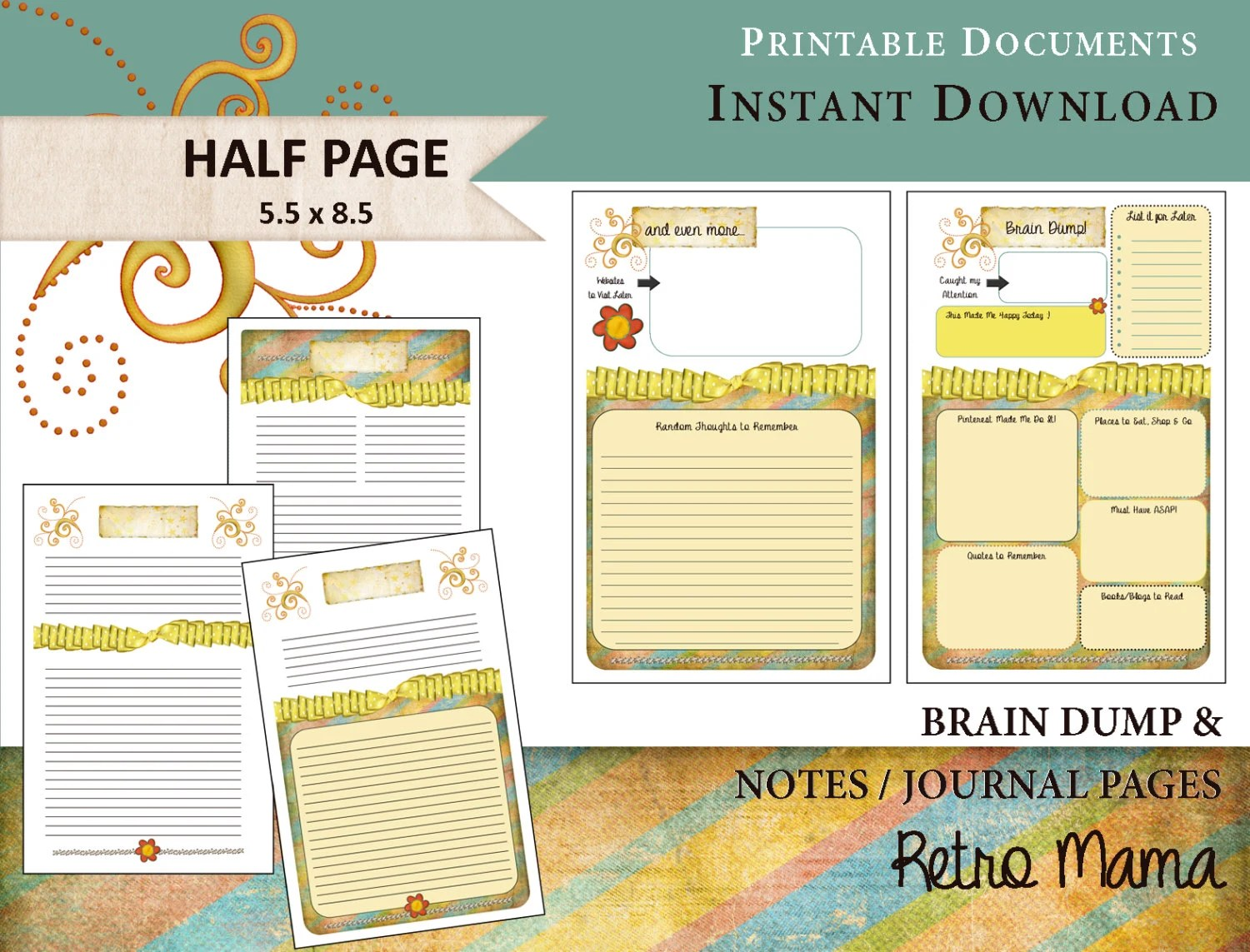 Planner Printable Brain Dump Amp Notes Pages Printable