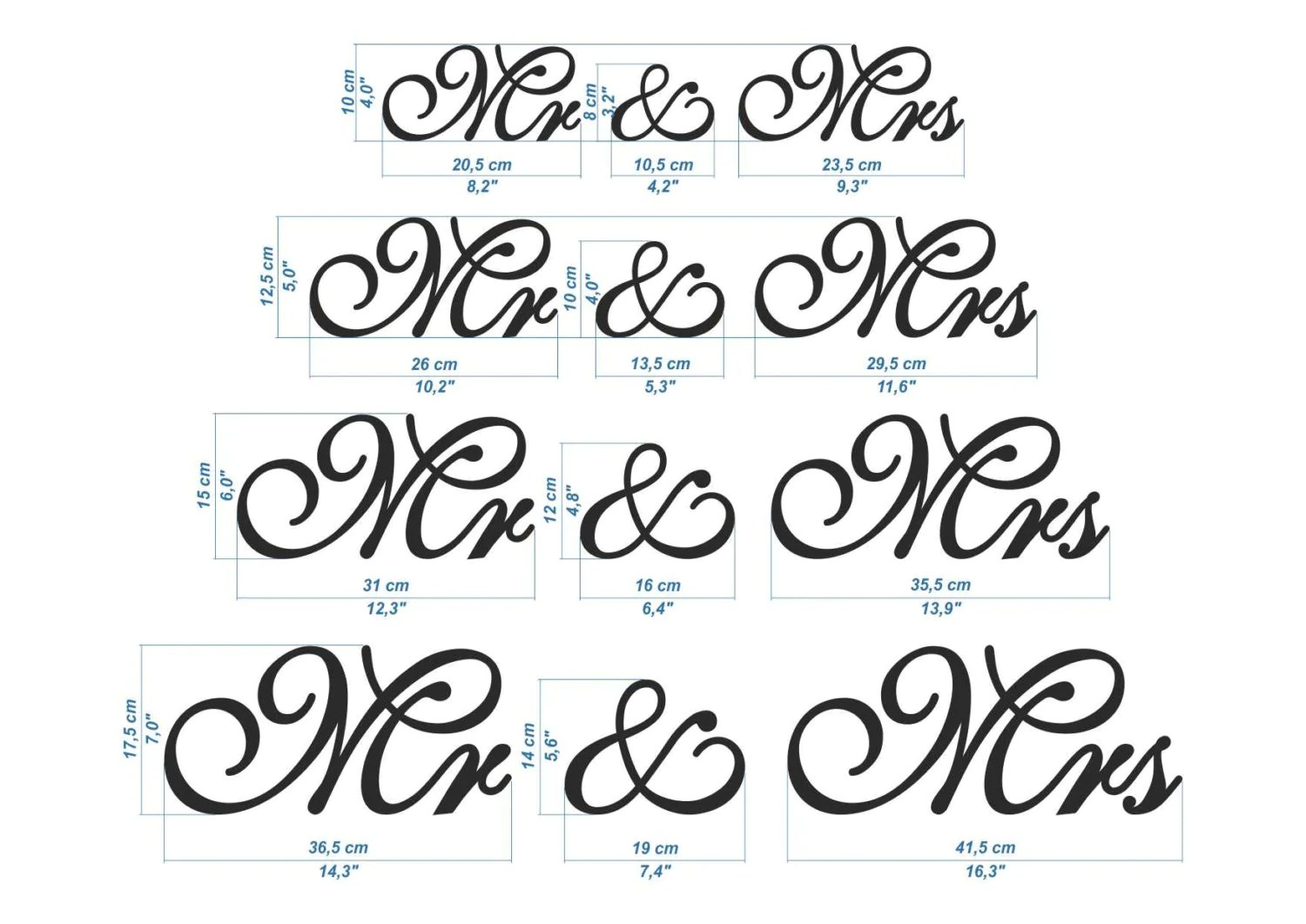 New Font Wooden Letters Mr Mrs Set Wedding Table Decor. Mr