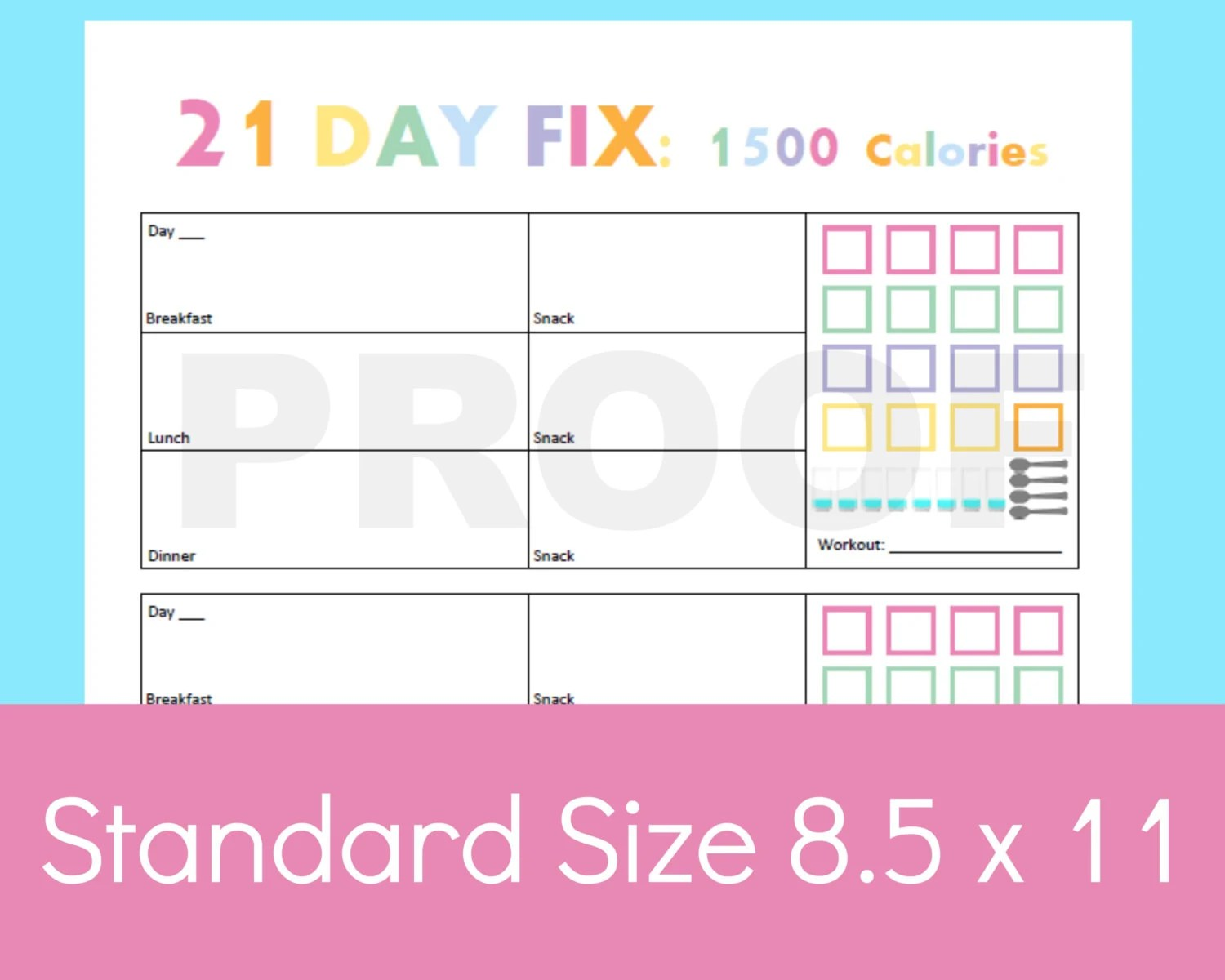 21 Day Fix Tracker 21 Day Fix Printable 21 Day By Commandcenter