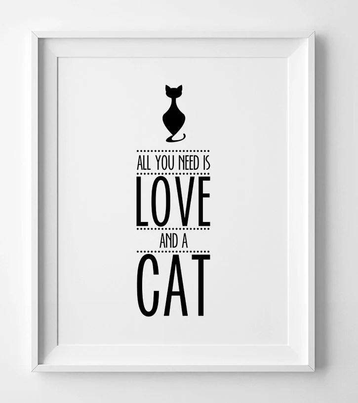Download Typography Print All You Need is Love and a cat