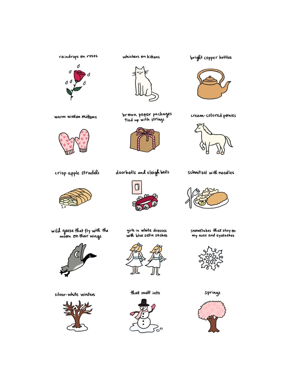 These Are A Few Of My Favorite Things Print Hand Illustrated