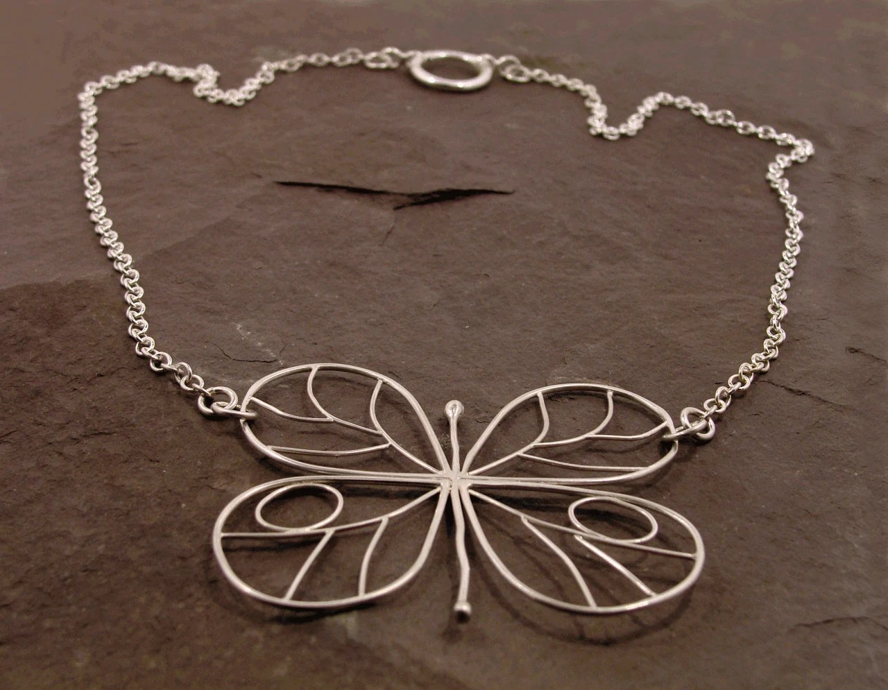 Wire Butterfly Necklace