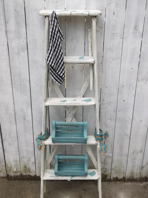 Vintage Antique Wood Ladder Shabby Chic Chalk Paint Ladder