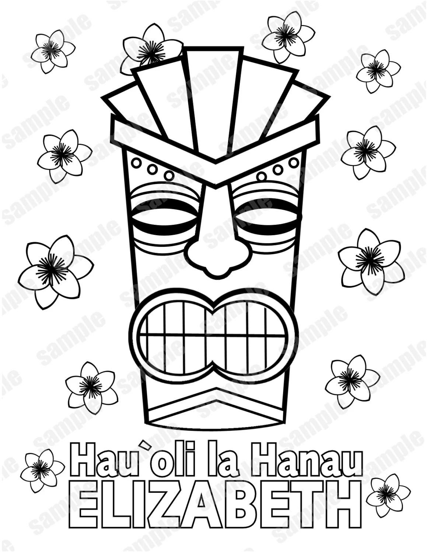tiki mask coloring pages luau hawaiian tiki mask birthday party favor