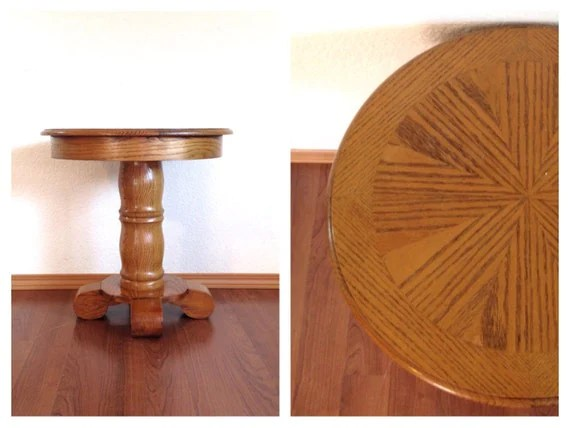 Vintage Oak Occasional Table. Small Round Pedestal Plant