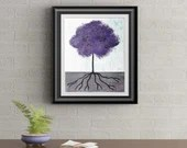 Purple Tuft Tree Signed Art Print of Signature Original By Rafi Perez