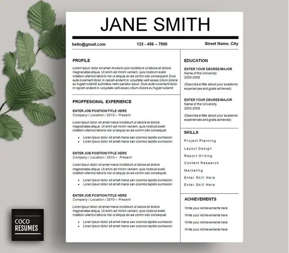 1 Page Resume Template Word. pinterest professional resume ...