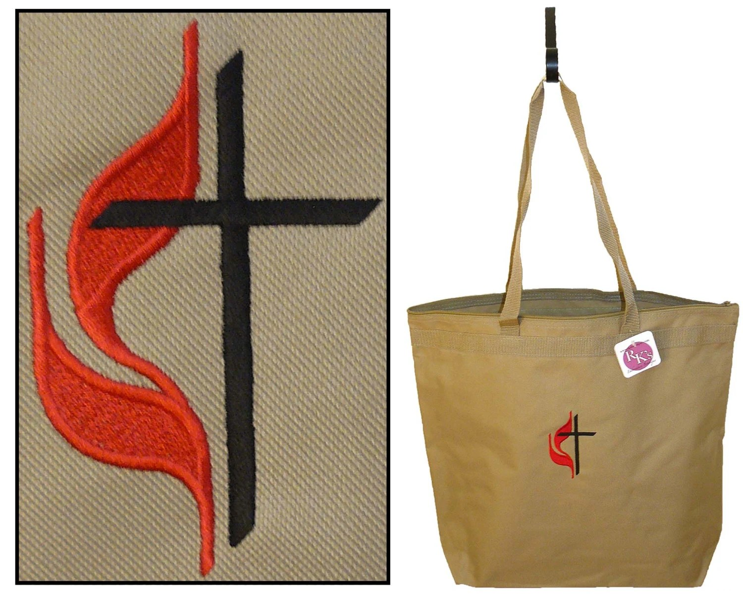 Methodist Cross Amp Flame Large Zipper Tote By