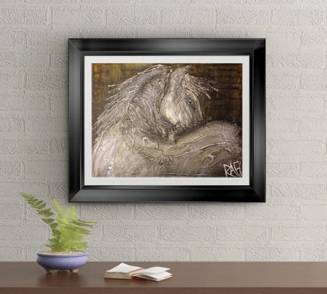 The White Horse Signed Art Print of Original Sold Painting By Rafi Perez