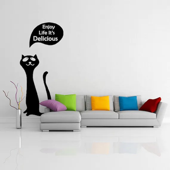 Happy Cat Wall Decal by DeliciousDeals