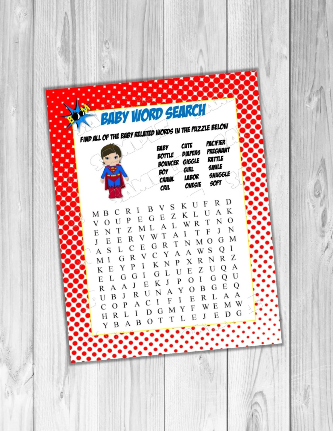 Superhero Baby Shower Game Word Search Game Printable Instant