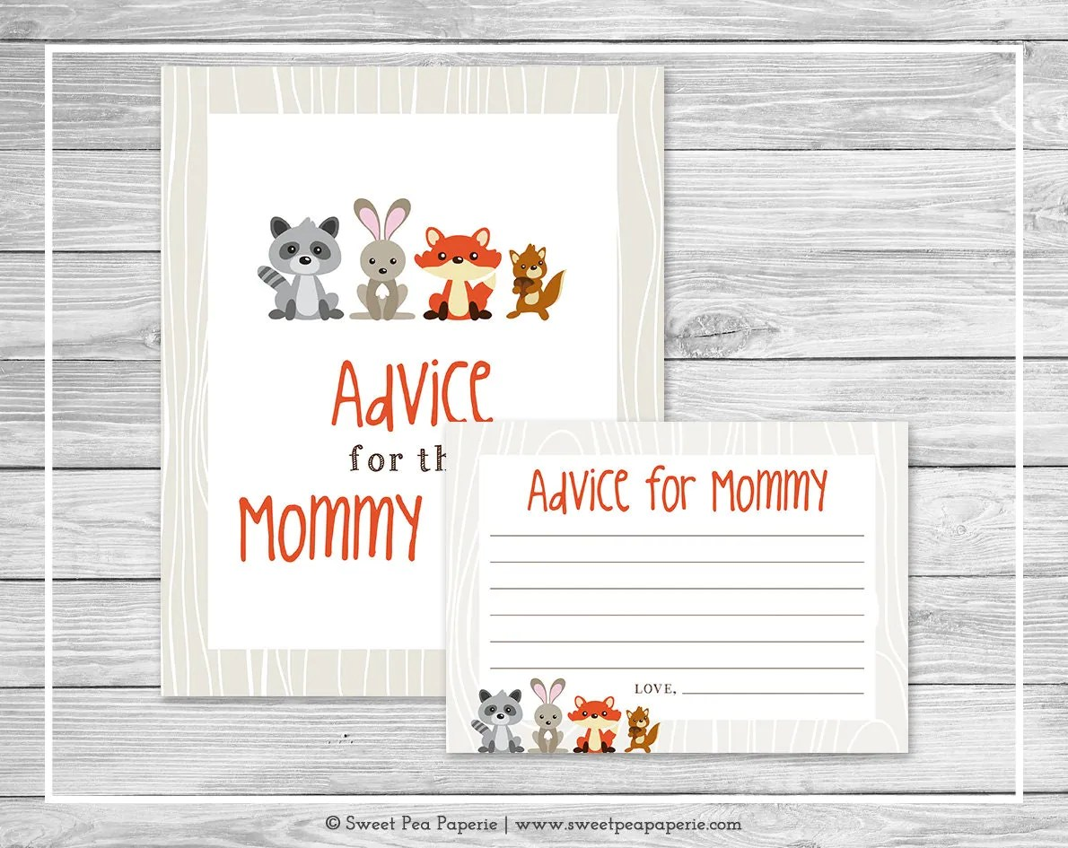 Woodland Animals Baby Shower Advice For Mom Cards Printable