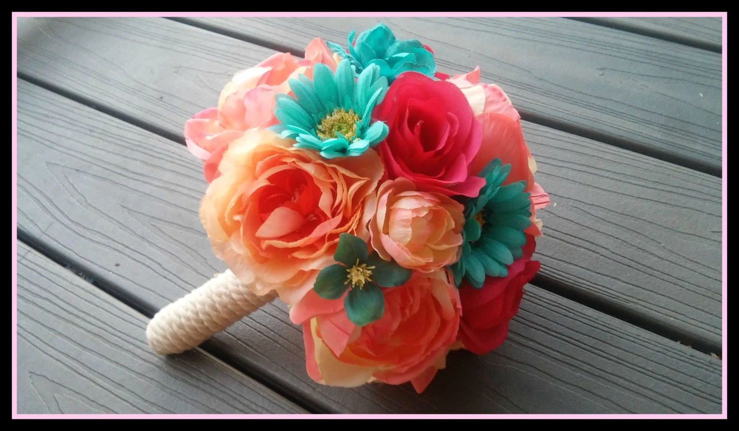 Coral And Aqua Bouquet Pink And Blue Bouquet By Dieselboutique