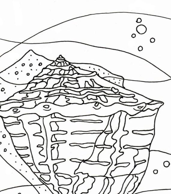 sea shell coloring page embroidery pattern seashell art digital