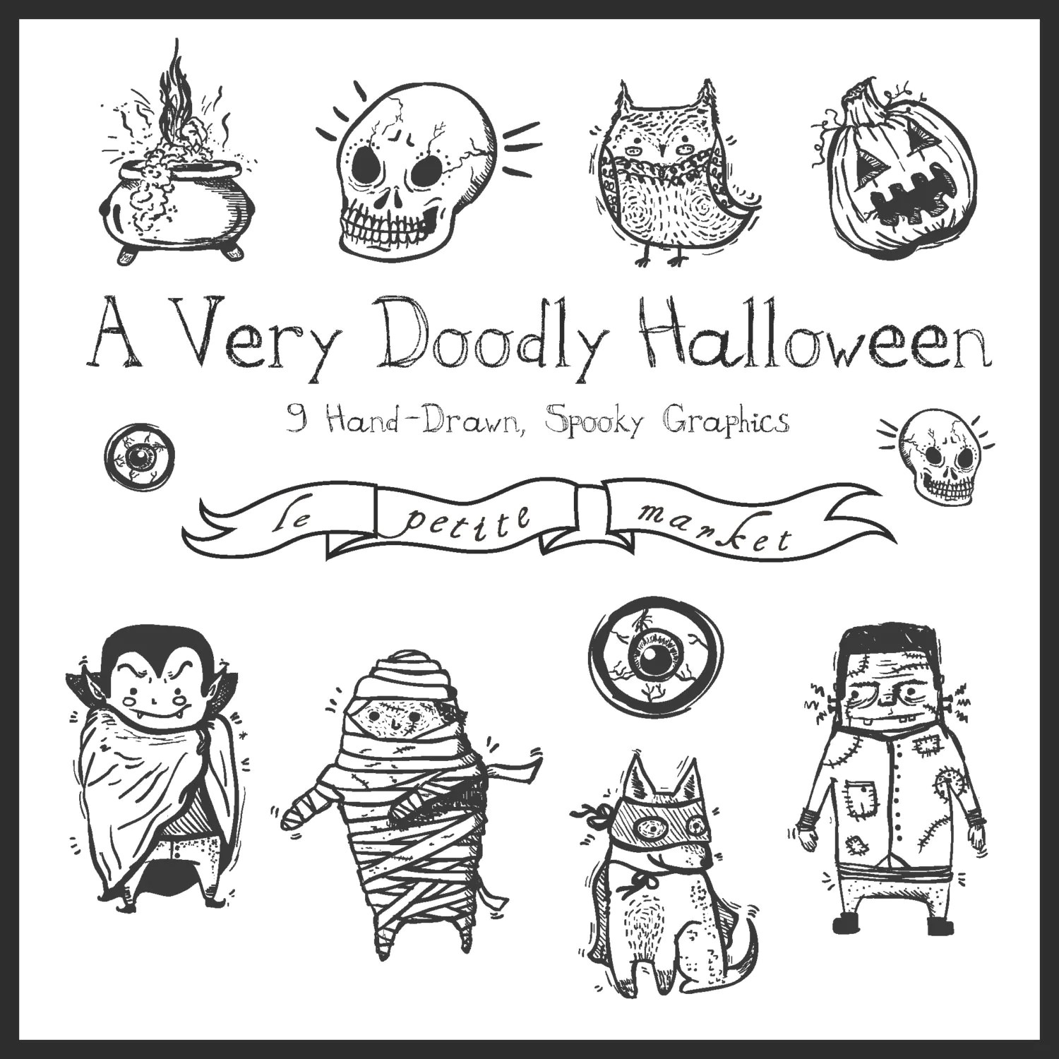 Cute Hand Drawn Halloween Clipart Graphics Sketched
