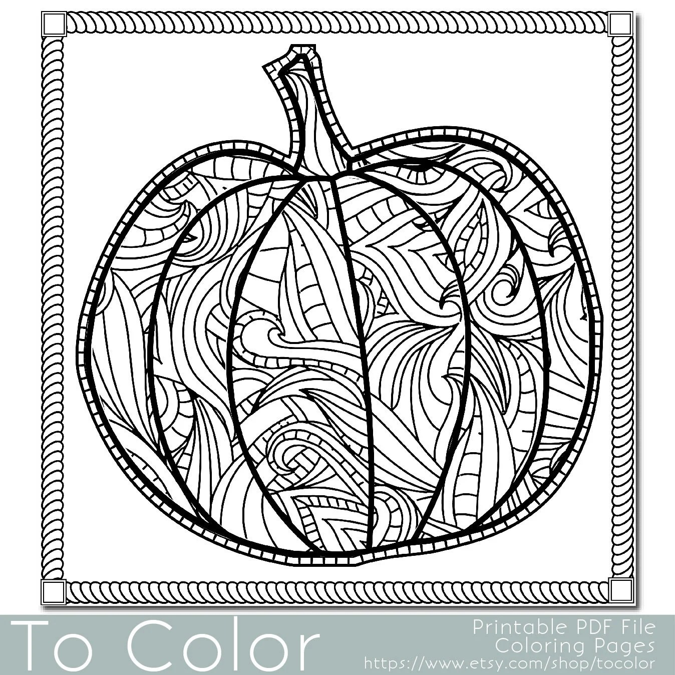 pumpkin page for adults instant download