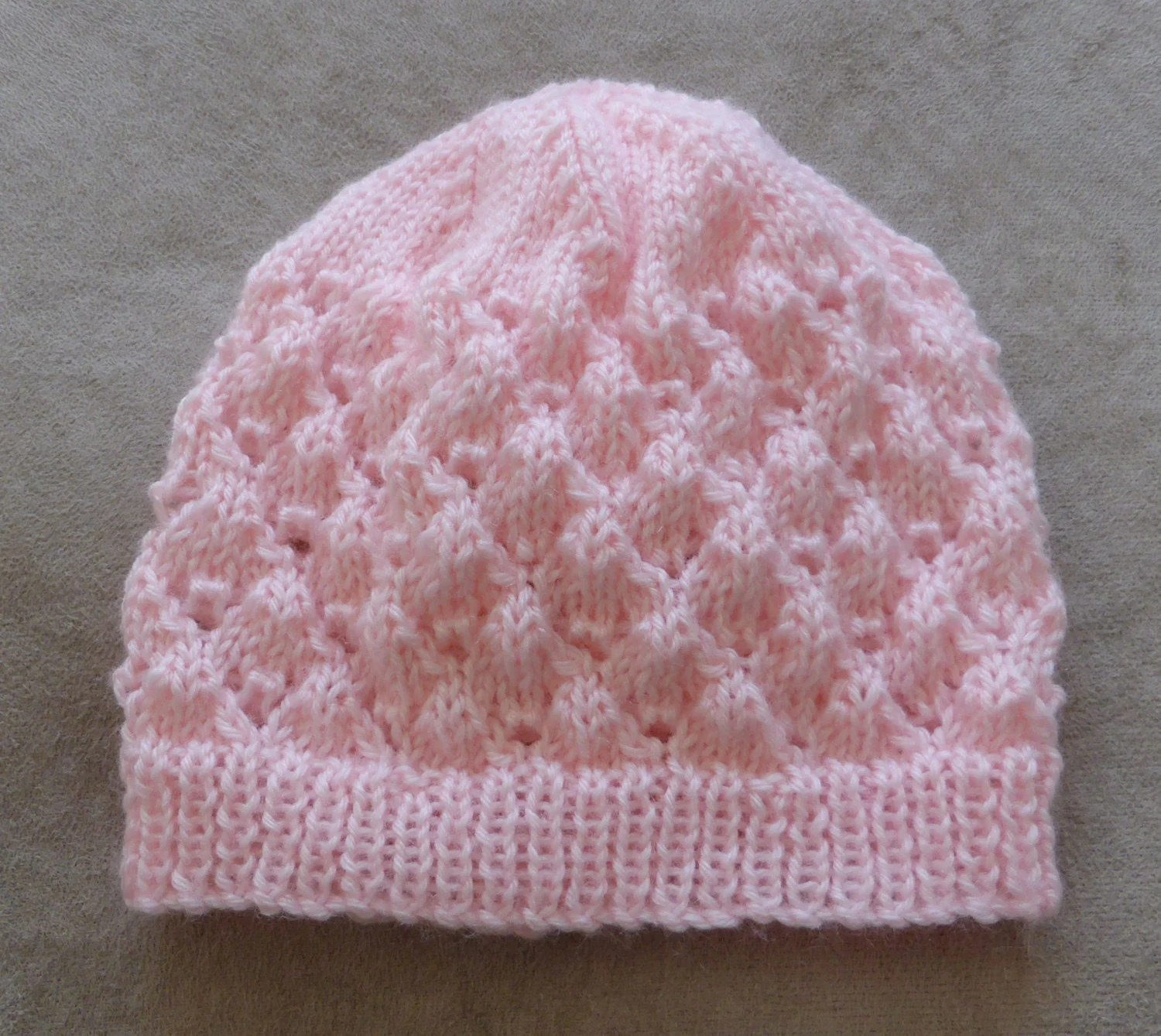 Babies 4ply Lace Beanie Knitting Pattern Molly