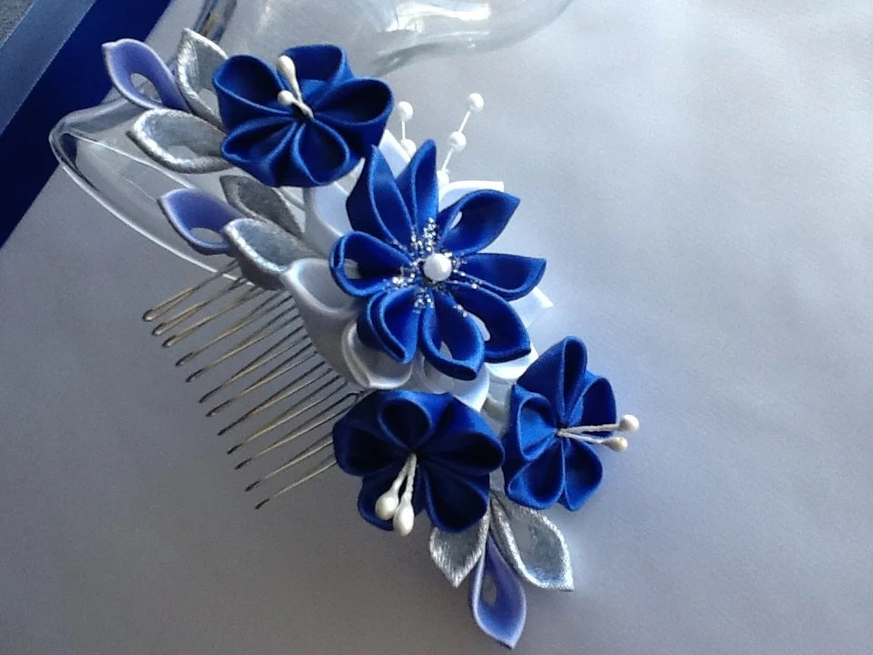 Hair Comb Royal Blue Cobalt Blue Silver And By LihiniCreations