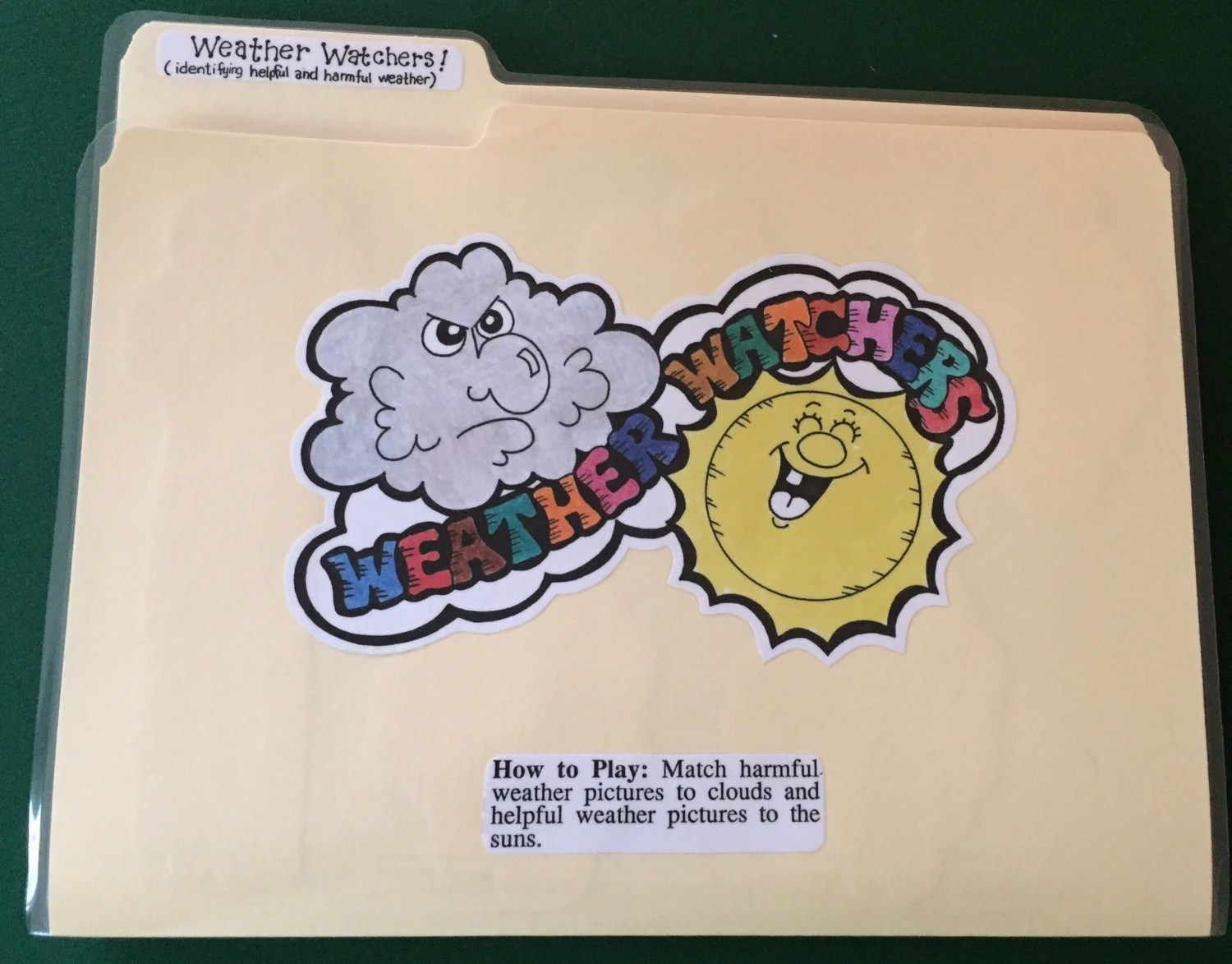 Weather Watchers Weather File Folder Game Ready To Play