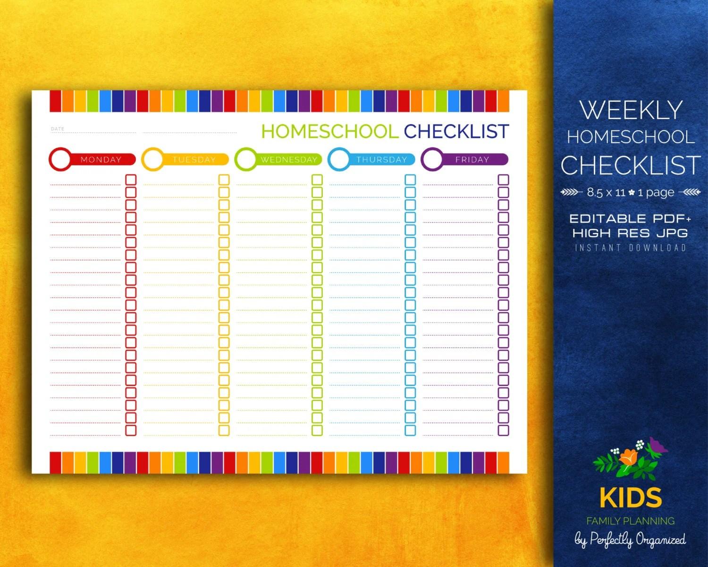 Weekly Homeschool Checklist Homeschool Lesson Plan Kids