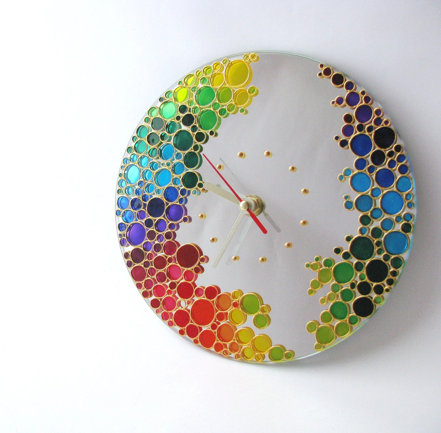 Mirror Wall Clock Rainbow Bubbles Hand Painted Silent Wall