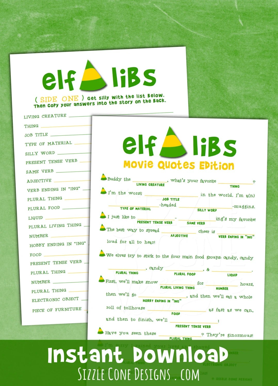 Elf Libs Movie Quotes Printable Christmas Party Game Madlib