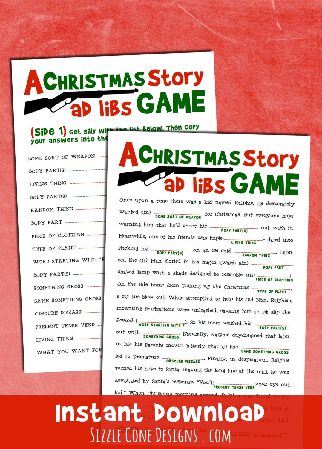 A Christmas Story Madlib Printable Holiday Party Game