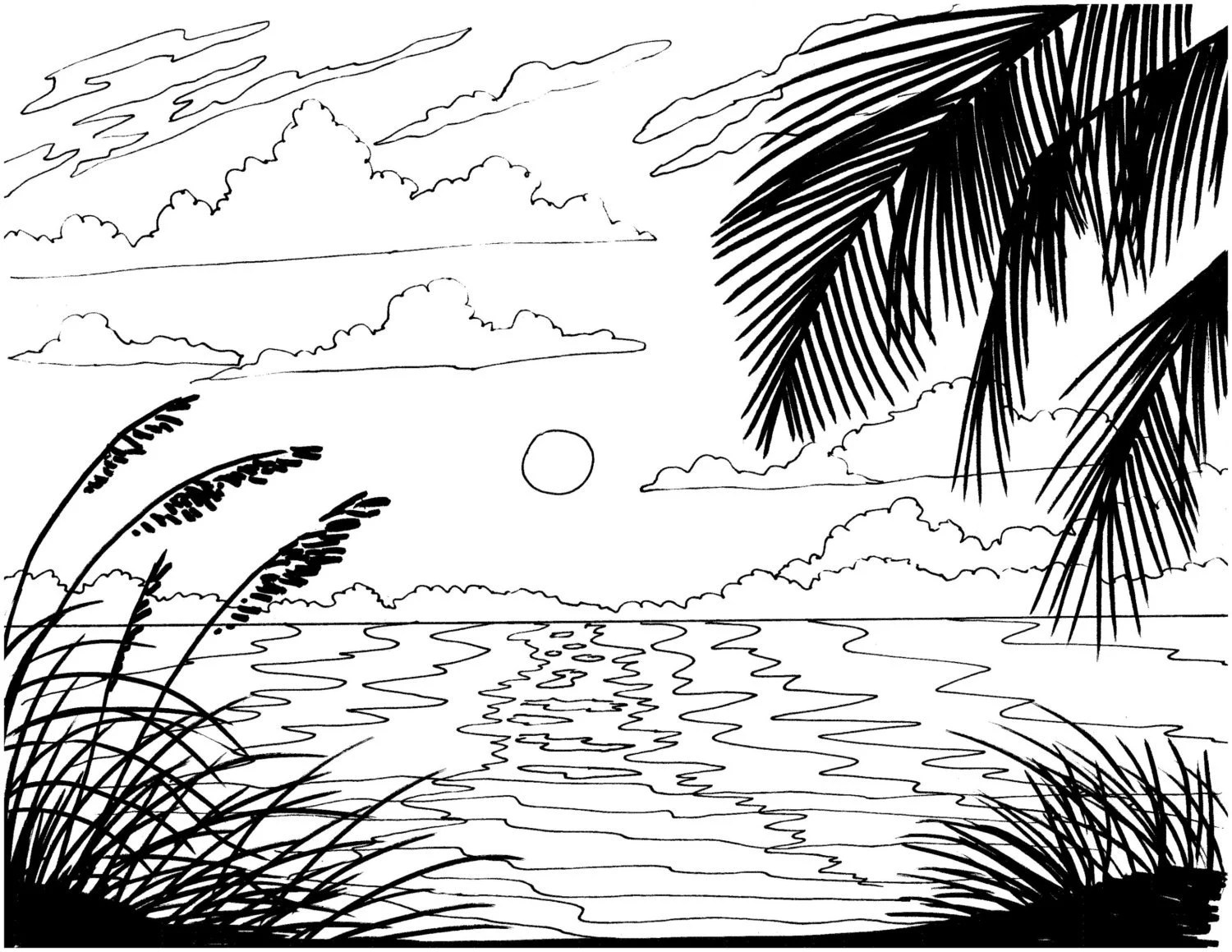 palm tree coloring page embroidery pattern by colorcoastalart