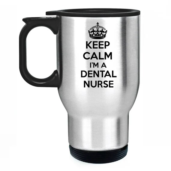 Keep Calm I'm A Dental Nurse Travel Mug Silver Stainless Steel Thermal Car Cup
